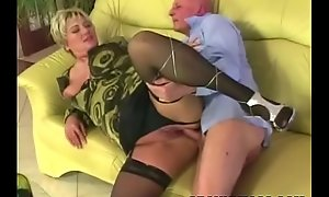 Broad in the beam granny receives pounded in stockings
