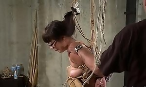 Hogtied Asian mature gets tits and cum-hole tortured enduring