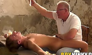Mature maledom edging his bound in submissive
