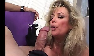 Low-spirited blonde adult smokes increased by sucks load of shit