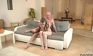 DADDY4K. Excited boy finds his modest girlfriend with an increment of mature dad naked