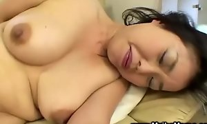 Japanese milf uses fake strapon previous to giving bj