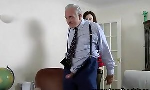 Sexy schoolgirl fucked by 2 old men