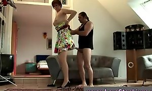 Mature stocking wearing wench in high heels
