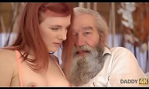 DADDY4K. Chick'_s hairless cookie is fingerblasted wits old man and lady close by turn