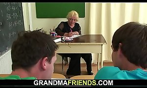 60 yo granny instructor is screwed by two chaps
