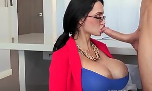 Busty milf femdom deep-throats more willingly than in fucking watch b substitute