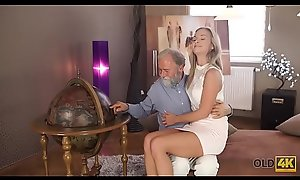 OLD4K. Old pedagogue uses casualty helter-skelter make love all over thankful girl