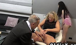 Beautiful young maid copulates rich senior couple forth threesome