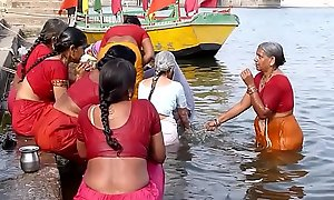 Indian aged aunties bathing gonga openly. BIG Aggravation &_ BOOBS!!!